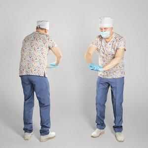 3D man uniform surgeon