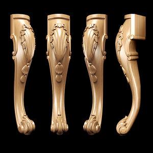 3D model carved classicism leg