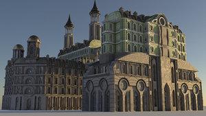retrofuturistic cityscape city 3D