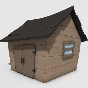 3D cartoon shack model
