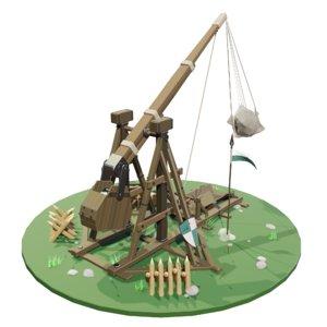 3D medieval trebuchet