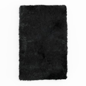 3D carpet shaggy sheepskin black