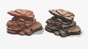 rock 3 pbr mossy stone 3D model