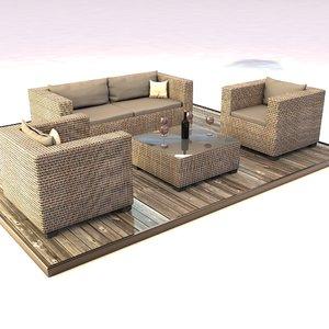 rattan set lounge 3D model