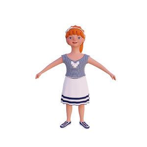 3D girl cartoon model