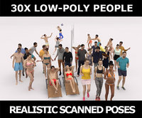 30x LOW POLY CASUAL BEACH SPORT PEOPLE CROWD
