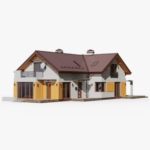 3D gameready house 15 cottage model