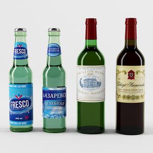 mineral water wine 3D model
