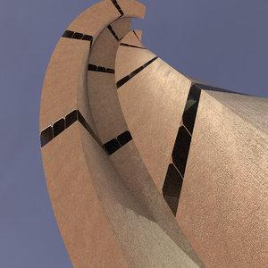 sci fi tower concrete model