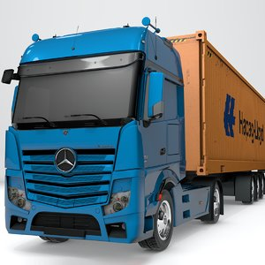 3D model mercedes benz actros blue