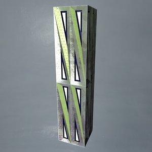 3D metal pillar crate column model