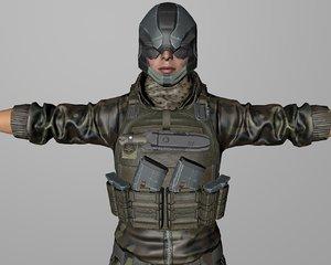 3D soldier woman model