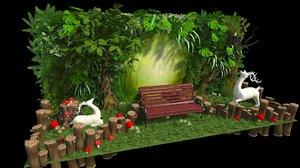 decorative greenery scene park 3D
