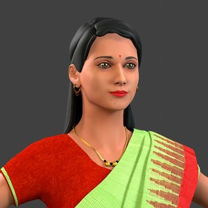 indian lady saree 3D model