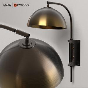 pigalle gold copper sconce 3D