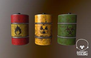 color low-poly oil barrel 3D model