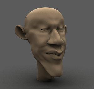 barack obama cartoon face 3D