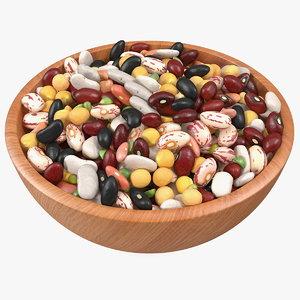 mixed legume beans plate 3D model