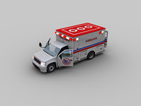 Ambulance With Interior Low-poly