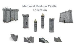 3D medieval modular castle