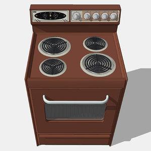 3D stove oven vintage model