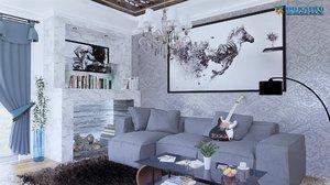 3D model modern living room furniture