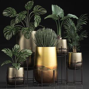 3D decorative plants pots interior