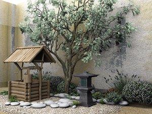 3D photorealistic scene wooden rock