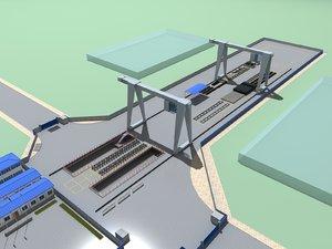 3D exterior scene modern rail