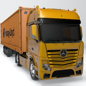 3D mercedes benz actros yellow