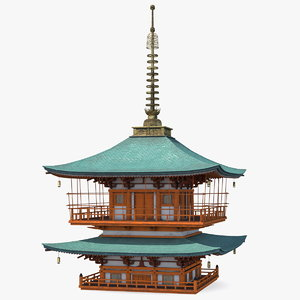 3D japanese pagoda roof japan model