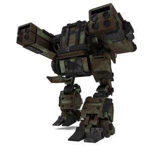 3D mech armored cannon walker