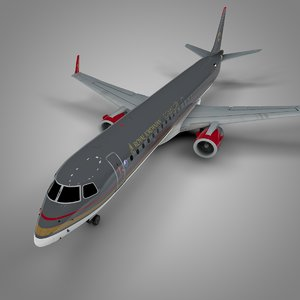 3D royal jordanian airlines embraer195 model