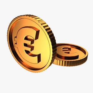 3D golden coin euro