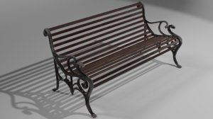 victorian park bench polys 3D model