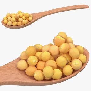 soy beans wooden spoon 3D model