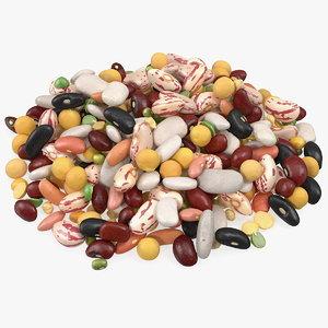 pile mixed legume beans 3D