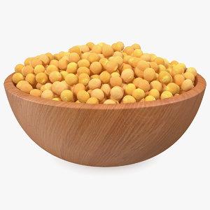 3D model soybean wooden bowl soy