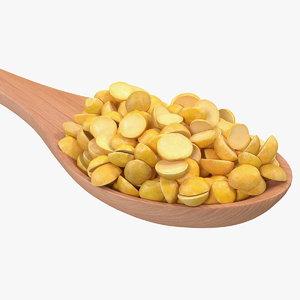 split mung bean wooden 3D model