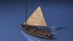 wooden sailboat scale modeled 3D model