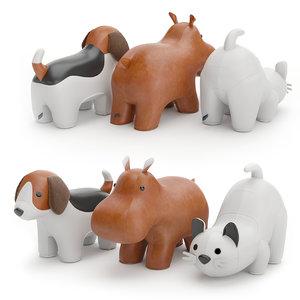 hippo cat beagle 3D