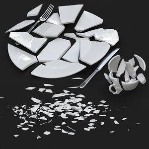 3D model broken dishes cups tableware