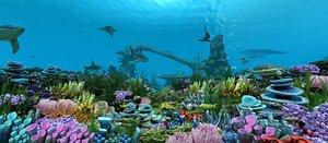ocean floor coral reefs 3D model