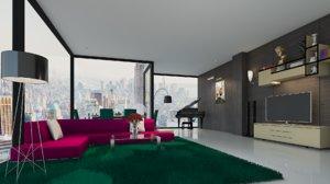 skyscraper living room interior design model