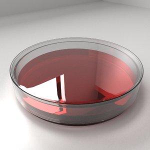 3D model glass petri dish agar
