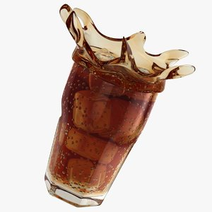 realistic splash cola glass 3D model