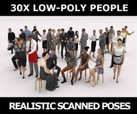 30x LOW POLY MAN WOMAN BUSINESS CAFE VOL01 CASUAL PEOPLE CROWD