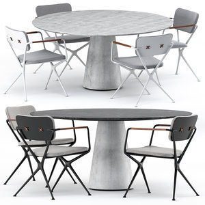 3D exes chair conix table