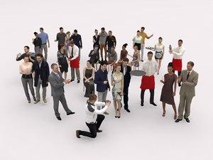 crowd man woman 3D model