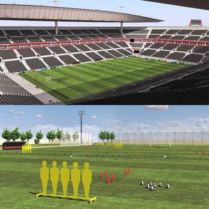 3D soccer stadium training ground model